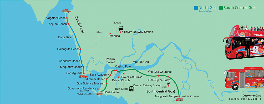 Hop On Hop Off Goa Route Map